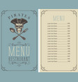menu with pirate skull with a spoon and fork vector image vector image