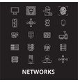 networks editable line icons set on black vector image vector image