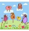 Nice set of cartoon sheep vector image