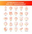 orange futuro 25 project management icon set vector image