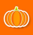 orange pumpkin sticker happy halloween vector image