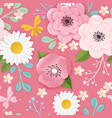 paper cut flowers seamless pattern spring floral vector image