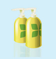 Realistic mockup cosmetic bottle with print