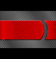 red metal plate on perforated background vector image vector image