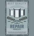 repair and construction work tools retro poster vector image vector image