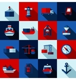 Seaport Color Flat Shadows Icons Set vector image vector image