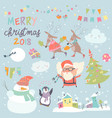 set christmas characters and icons vector image