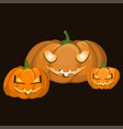 set of three pumpkins of different shapes and vector image