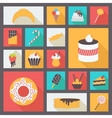 Set of various sweets for restaurant and menu Flat vector image