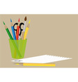 sheet of paper scissors and pencils vector image vector image