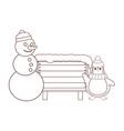 snowman and penguin with blank wooden sign brown vector image vector image
