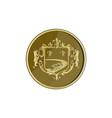 Steamboat Fleur De Lis Coat of Arms Medal Retro vector image vector image