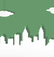 The city from white paper on a green background vector image