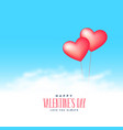 two hearts balloons flying on clouds background vector image vector image