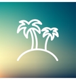 Two palm trees thin line icon vector image vector image