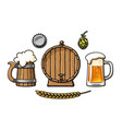 vintage set beer objects barrel glass mug of vector image vector image