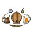 vintage set beer objects barrel glass mug vector image vector image