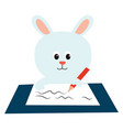 white bunny on white background vector image vector image