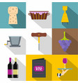 wine production icons set flat style vector image