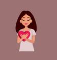 woman holding a heart symbol feeling thankful vector image