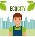young man eco city urban energy alternative vector image
