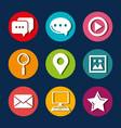collection internet icons on round web buttons on vector image