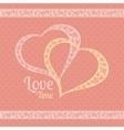 greeting card with polka dots and hearts vector image