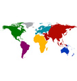 World map with colored continents vector image