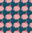 Lovely hedgehog carrying an apple Seamless pattern vector image