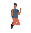 afro american student with backpack man in jacket vector image