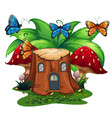 butterflies flying around log home vector image vector image