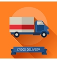 Cargo delivery icon on background in flat design vector image vector image