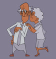 cartoon happy grandmother in love hugs a contented vector image