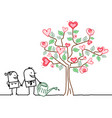 cartoon woman and man watering a big tree with vector image