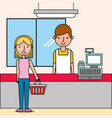 cashier next cash register and woman customer vector image vector image