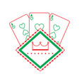 casino poker board light cards gamble symbol vector image