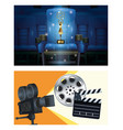 cinema entertainment with set scene icons vector image vector image
