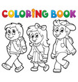 coloring book school kids theme 2 vector image vector image