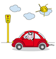 Cow driving a red car vector | Price: 1 Credit (USD $1)