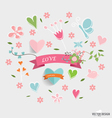 Cute ribbon with floral bouquets and graphic vector image vector image