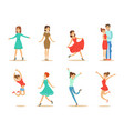 dancing people set young women and couple dancing vector image