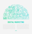digital marketing concept in half circle vector image vector image