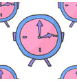 doodle pink and violet clock seamless pattern vector image vector image