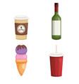 drinks beverage set icons vector image