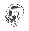 evil skull side view on background vector image vector image