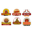 fast food retro badges with burger and hot dog vector image vector image
