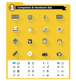 Flat computer hardware icon set vector image
