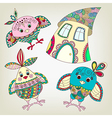 Funny birds and house in ethnic style vector image vector image
