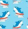hand drawing shark seamless print design vector image vector image