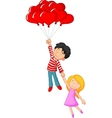 Happy couple flying with love shape balloon vector image